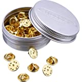 Mudder 50 Pieces Brass Butterfly Clutch Badge Insignia Clutches Pin Backs Replacement (Gold)