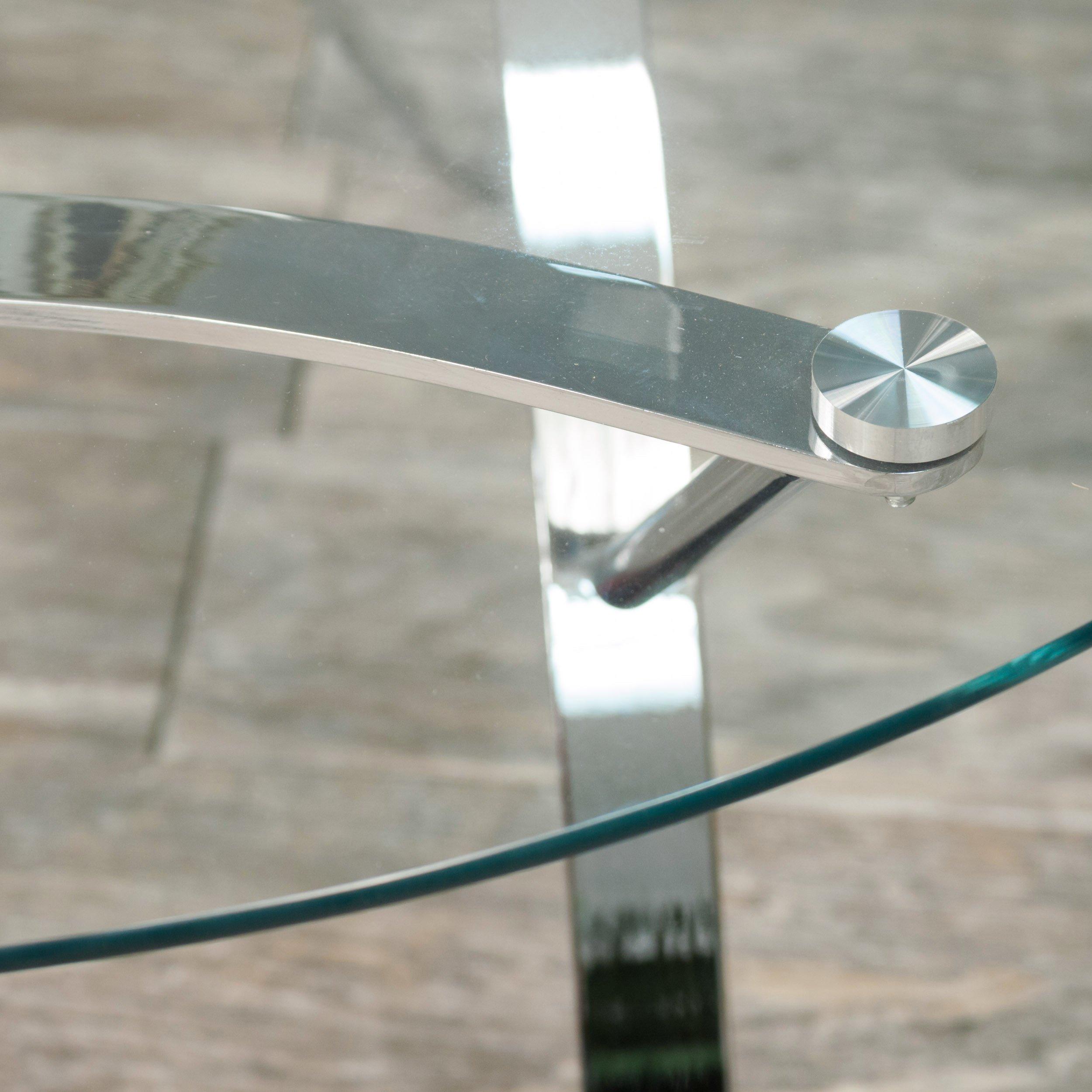 Davina Tempered Glass Round End Tables w/ Chrome Legs (Set of 2)