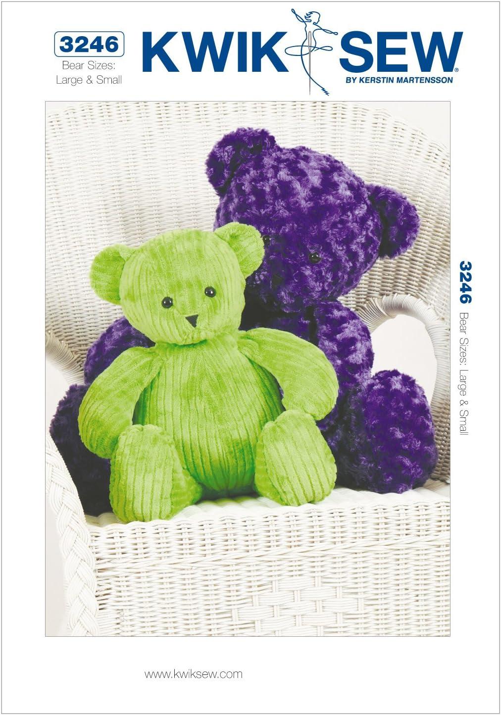 KWIK-SEW PATTERNS K3246OSZ Teddy Bears Sewing Pattern, Size Large and Small