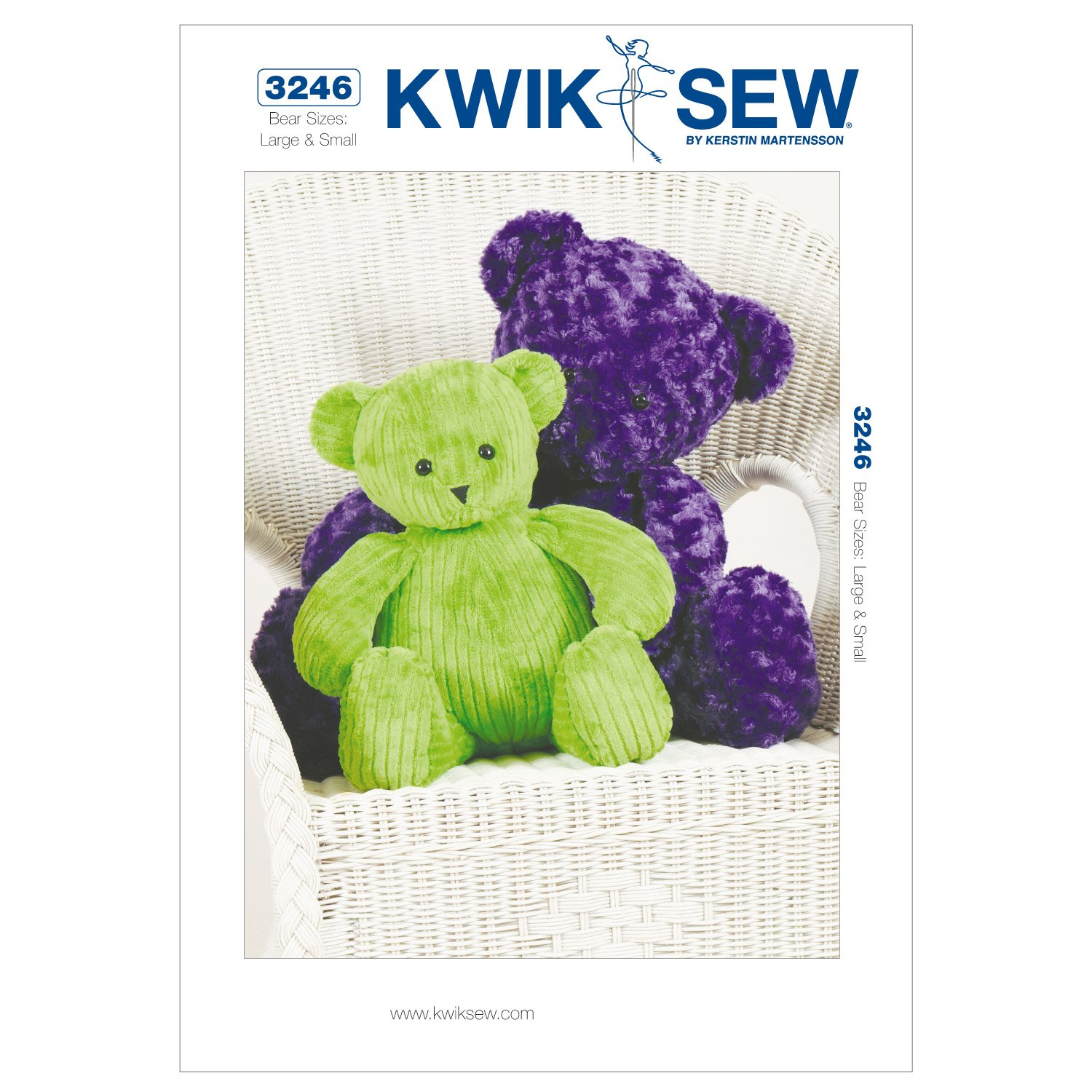 KWIK-SEW PATTERNS K3246OSZ Teddy Bears Sewing Pattern, Size Large and Small McCall Pattern Company