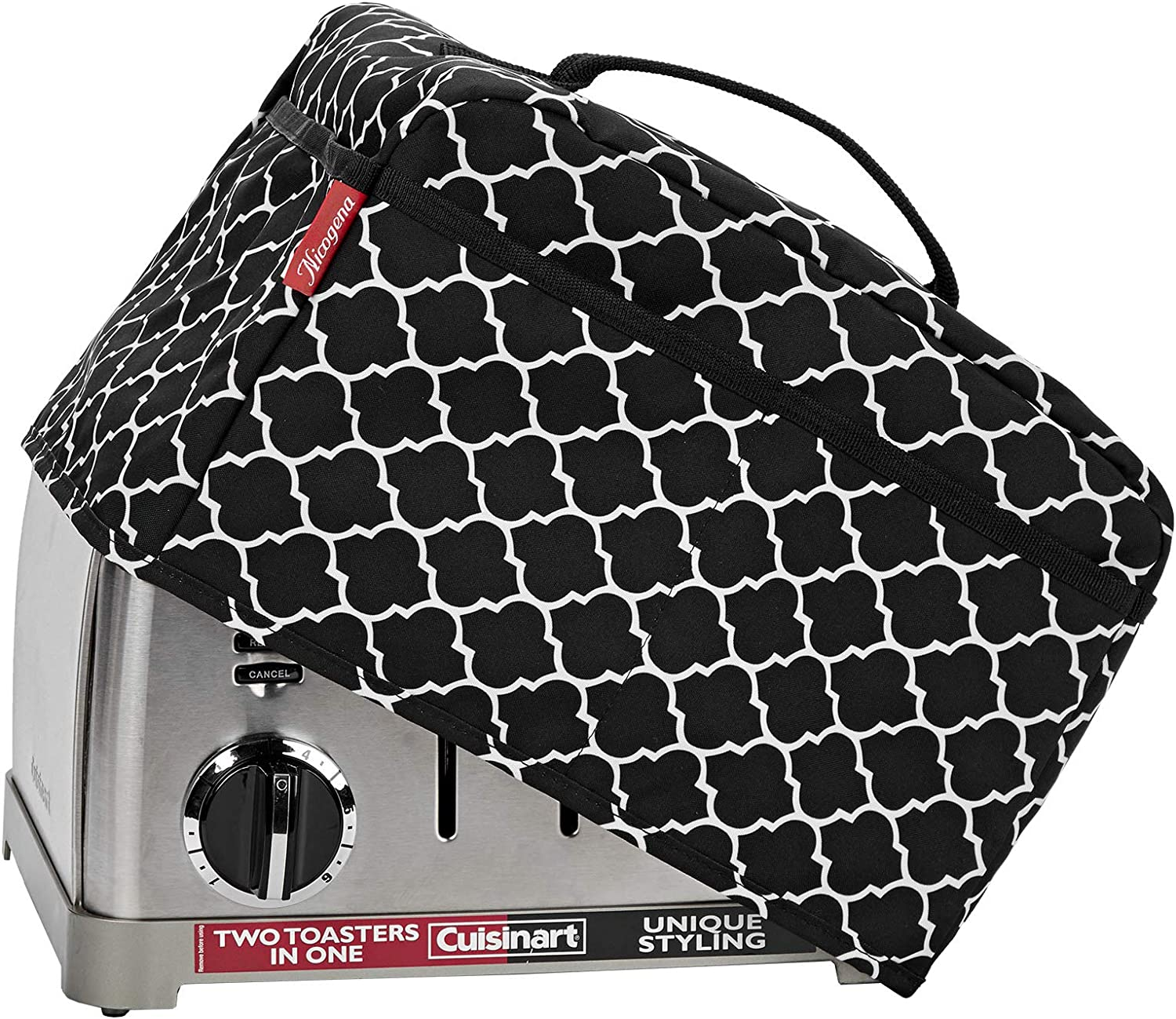 NICOGENA Toaster Dust Cover with Handle Compatible with Cuisinart 4 Slice Toaster, Dust and Fingerprint Protection,Pockets for Accessories, Lantern Black