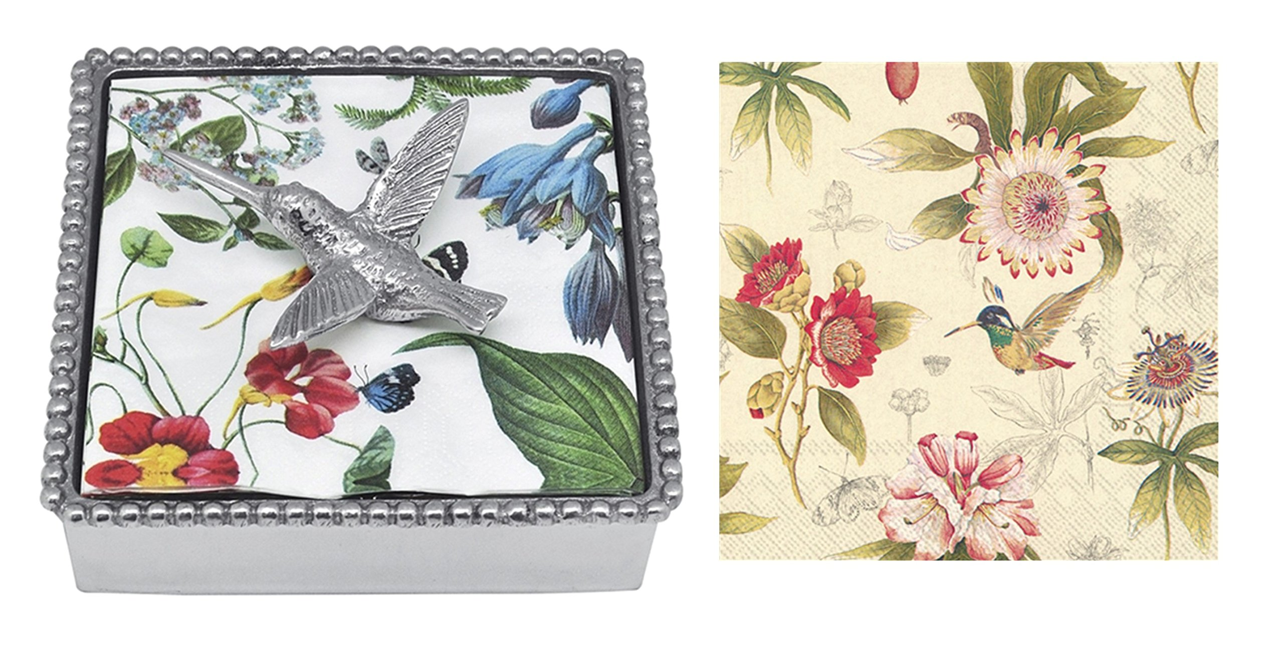 Mariposa Beaded Napkin Box with Hummingbird Napkin Weight & 2 sets of Napkins by Mariposa