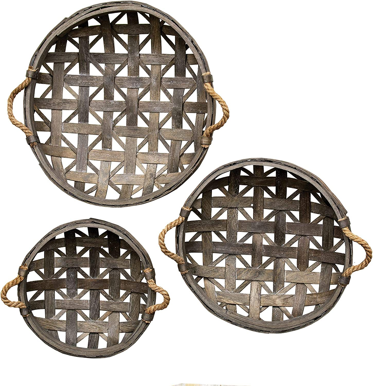 CWI Gifts Natural Round Tobacco Baskets w/Jute Handles 3/Set, Multi