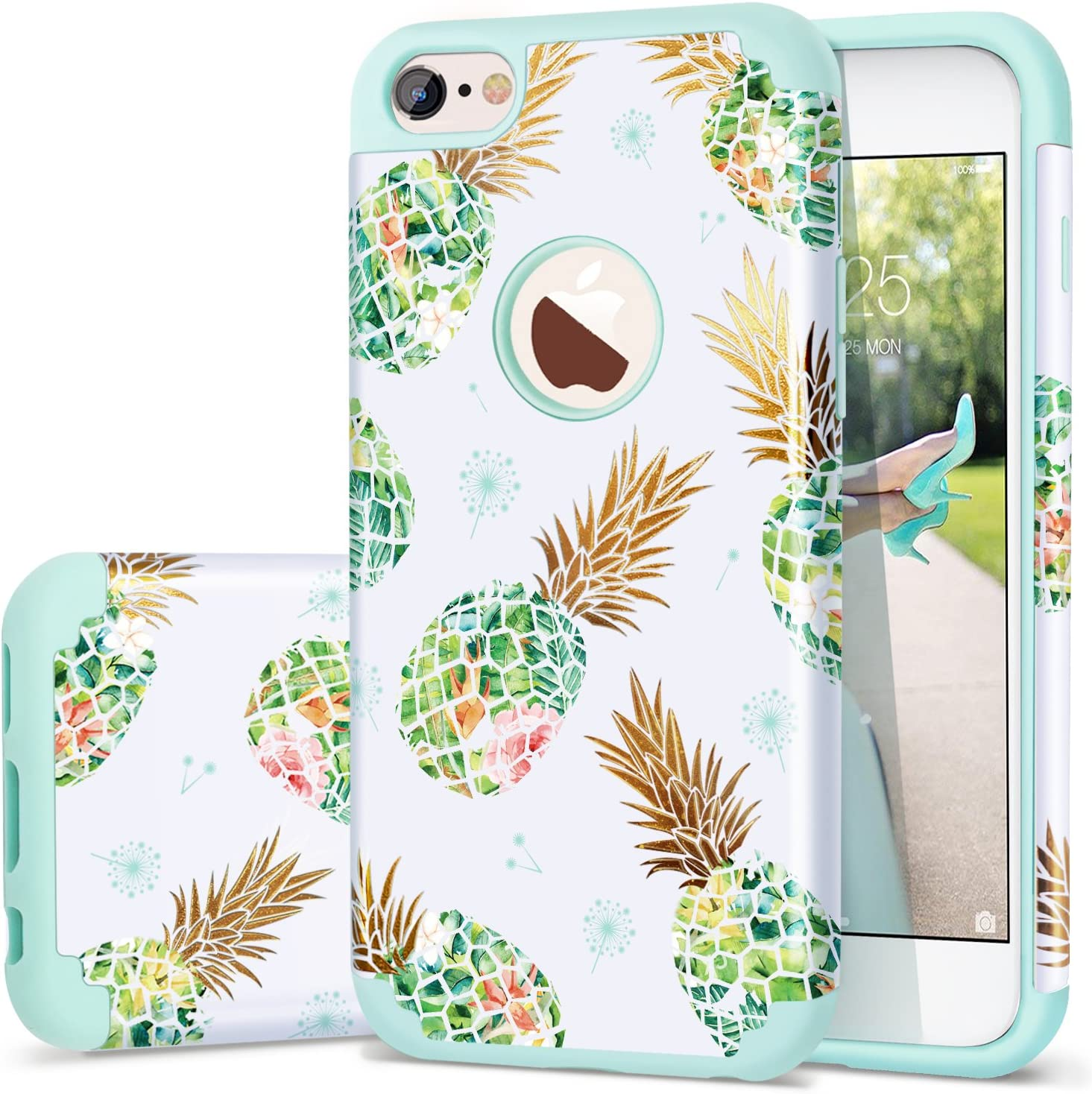 """Fingic iPhone 6s Case, iPhone 6 Case Pineapple, Shiny Slim Pineapple Design Summer Case Hard PC Soft Rubber Anti-Scratch Shock Proof Protective Case Cover for iPhone 6/6s 4.7"""",Green"""