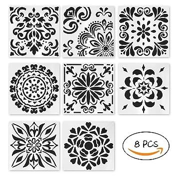 8 Pcs Plastique Pochoir De Peinture Dessin Fleurs De Style Rétro