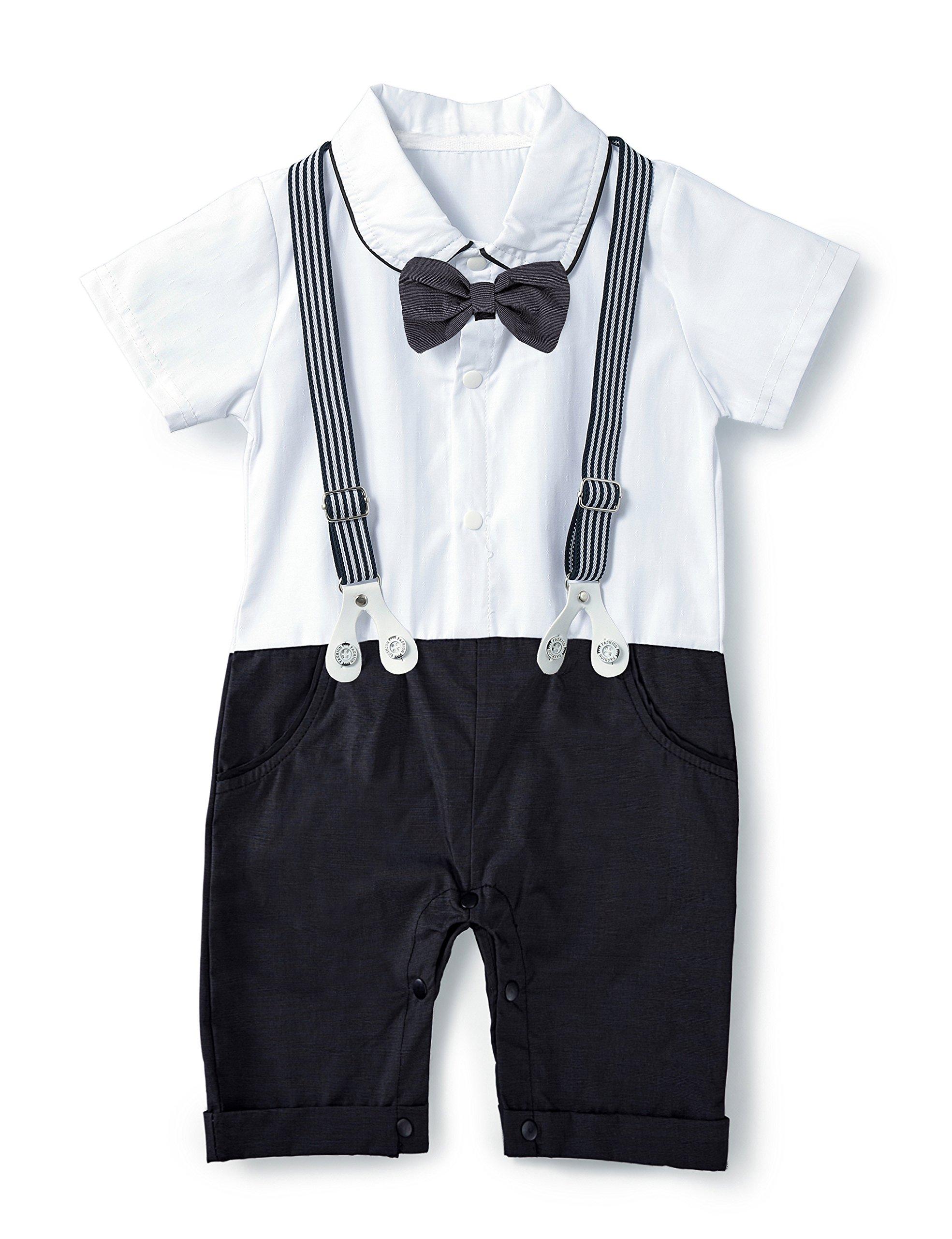 HeMa Island HMD Baby Boy Gentleman Bowtie Tuxedo Onesie Jumpsuit Overall Romper with Hat (0-18M) (Black, 70(3-6 Month))