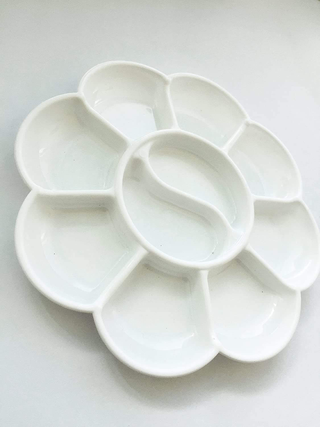 Round Shape Plastic White Paint Mixing Palette Tray for Kids Art Painting Tool