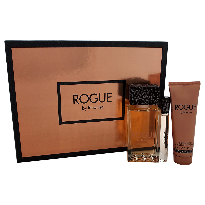 Rogue by Rihanna for Women 3 Piece Set Includes: 4.2 oz Eau de Parfum Spray + 0.2 oz Eau de Parfum + 3.0 oz Body Lotion RBR1A