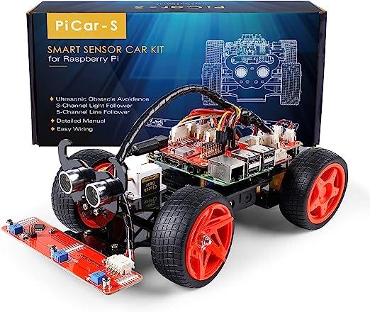 Amazon.com: SunFounder Raspberry Pi Car DIY Robot Kit for Adults Picar-s,Visual Programming with Ultrasonic Sensor Light Following Module Line Following Module: Toys & Games