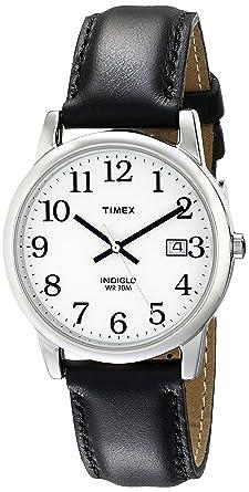 87231ddaf588b Amazon.com  Timex Men s T2H281 Easy Reader Black Leather Strap Watch ...