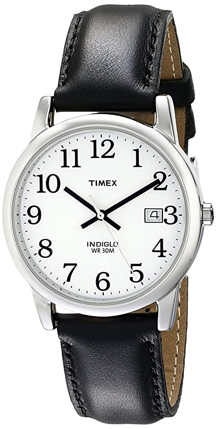 amazon com timex men s t2h281 easy reader black leather strap amazon com timex men s t2h281 easy reader black leather strap watch timex watches
