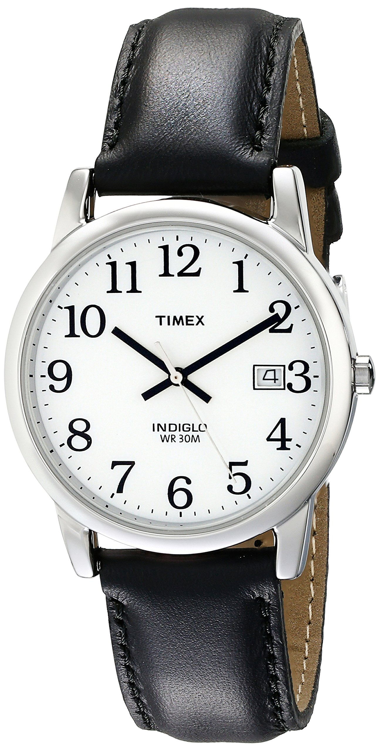 Timex Men's T2H281 Easy Reader Black Leather Strap Watch by Timex