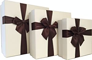 Cypress Lane Square Rigid Gift Box with Ribbon, 11 inches, a Nested Set of 3 (White)