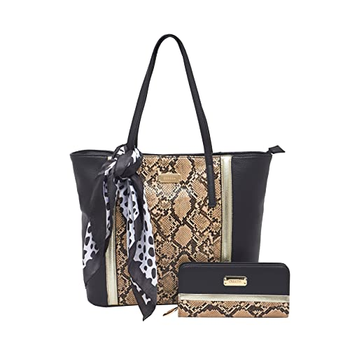 9545c2750b ESBEDA Black color snake print combo tote bag with wallet & scarf for  women: Amazon.in: Shoes & Handbags