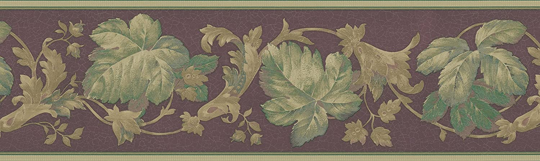 Brewster 418B021 Satin Classics VIII Leaf Trail Wall Border 6.825-Inch by 180-Inch