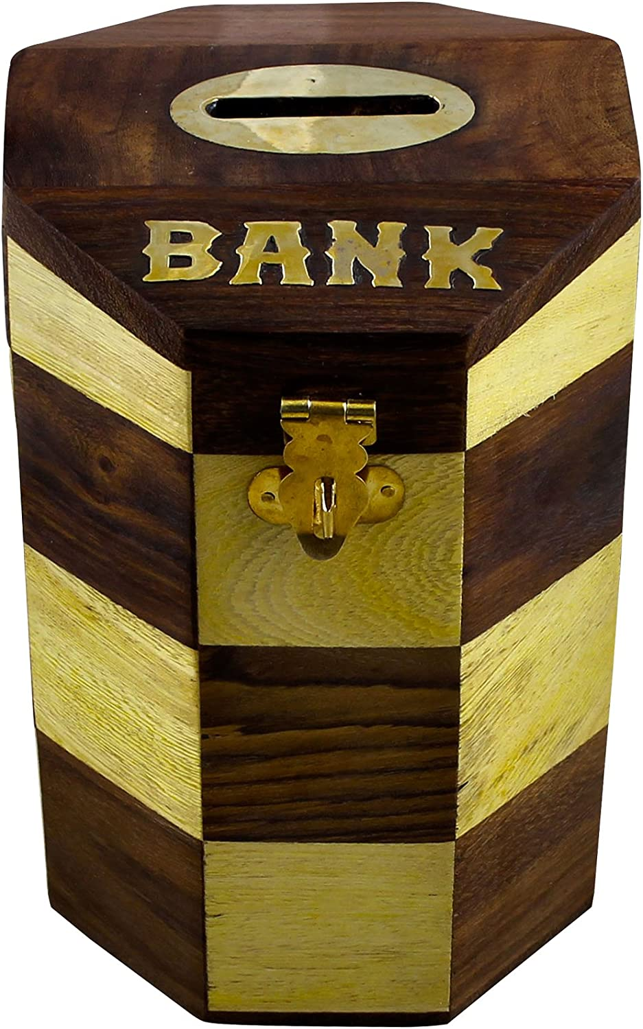 Safe Money Box Wood Piggy Bank Coin Storage Box Gifts for Boys Girls Kids & Adults