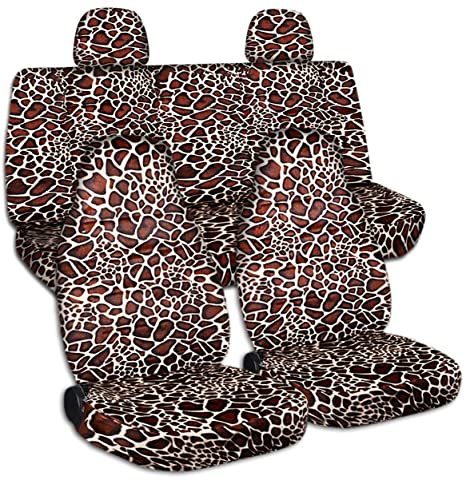 Brilliant Amazon Com Animal Print Car Seat Covers W 2 Rear Headrest Alphanode Cool Chair Designs And Ideas Alphanodeonline
