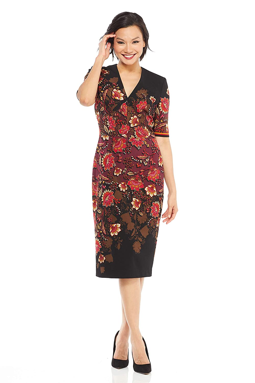 Black Burgundy Maggy London Women's Floral Scuba Crepe Sheath with Elbow Sleeve