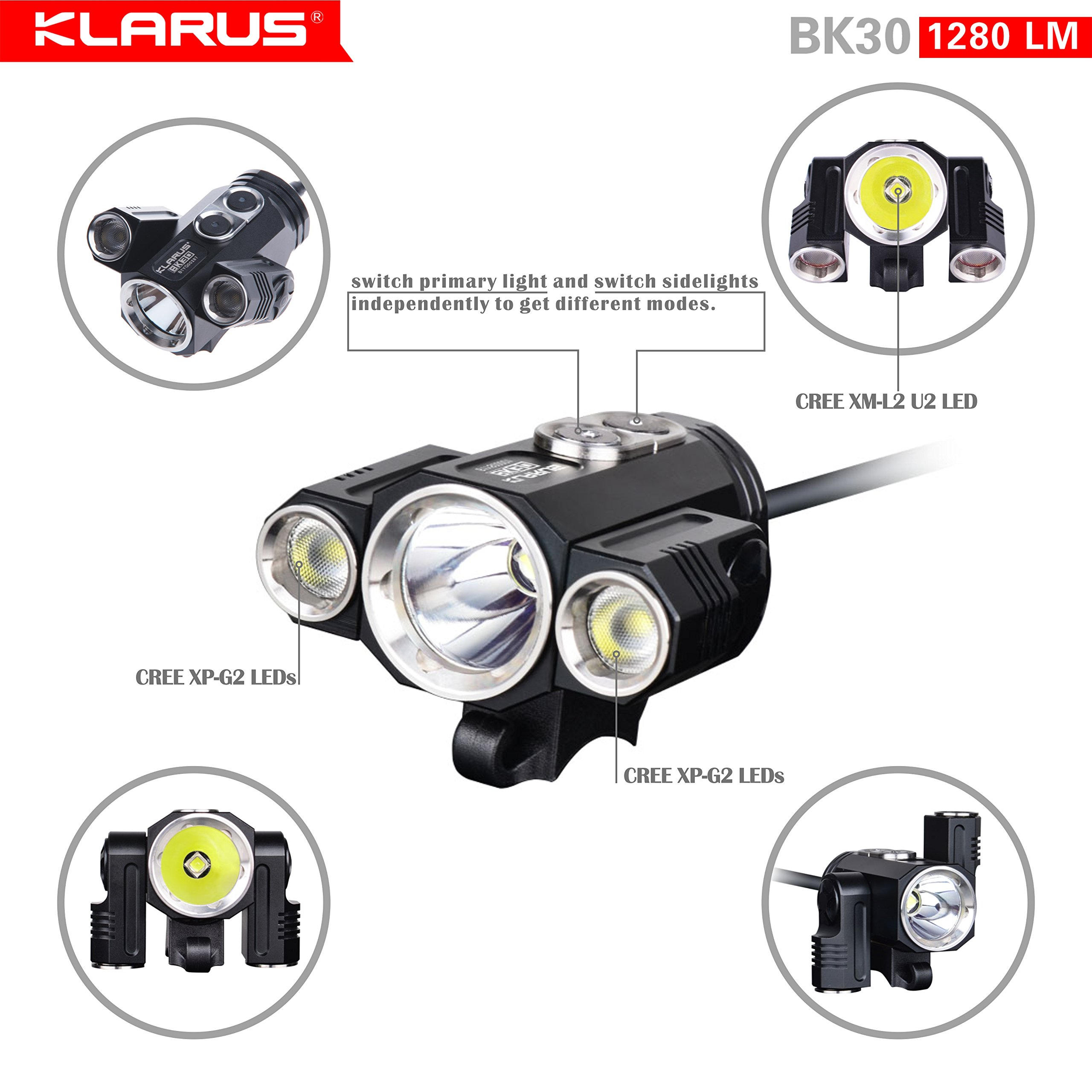 Newest Design Bundle: KLARUS BK30 1280 Lumen, Adjustable Triple Head LED Bikelight, Main light CREE XM-L2 U2, side lights CREE XP-G2, Tools Free, with C2 Charger & two 18650 Rechargeable Batteries by Klarus (Image #1)