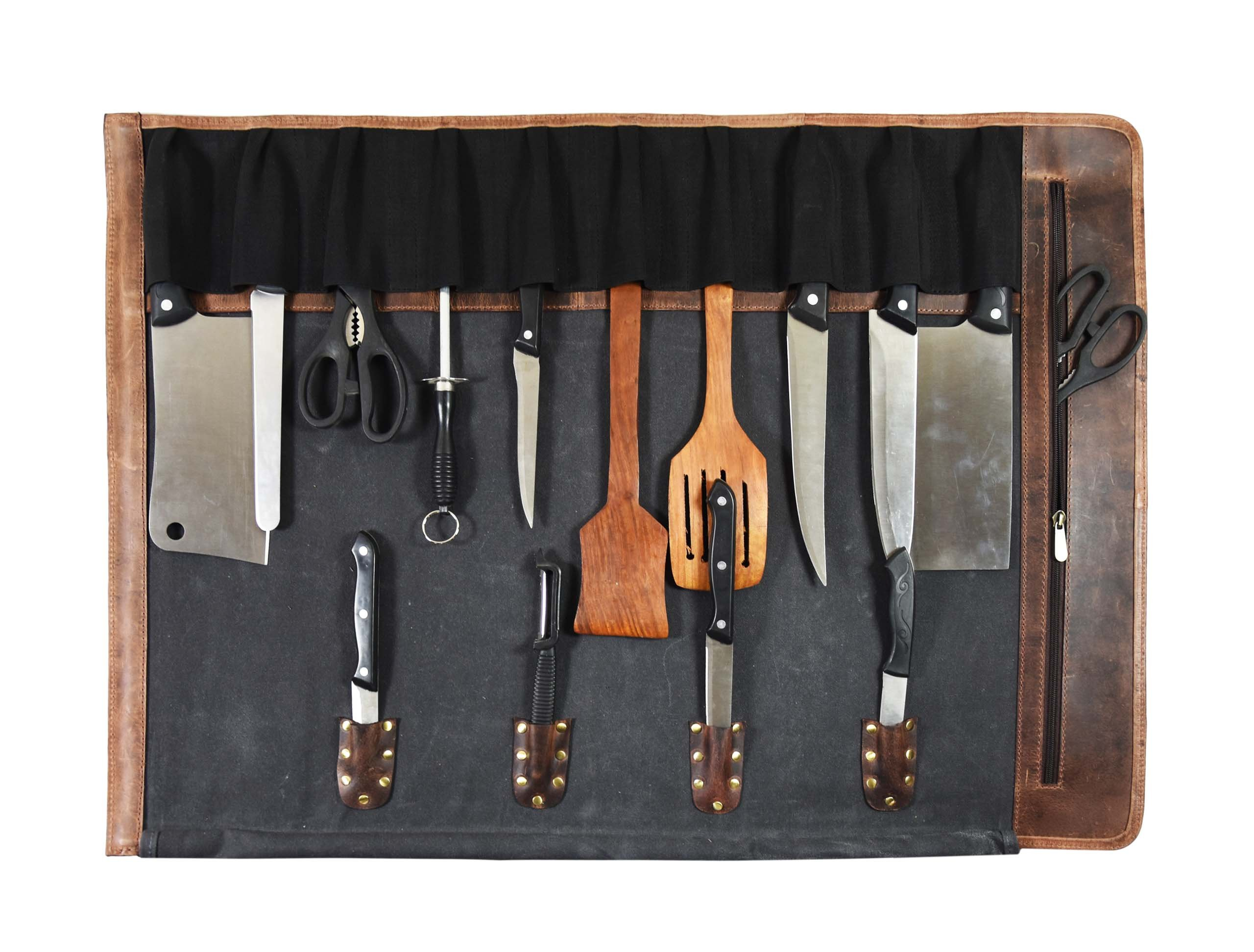 Leather Knife Roll Chef Roll Storage Bag Aaron Leather (Fossil Grey) by Aaron Leather (Image #3)