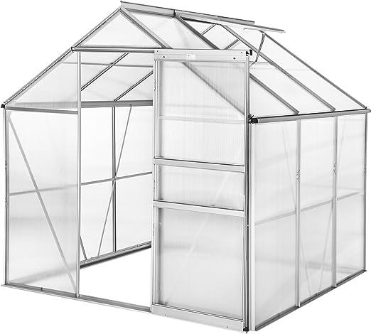 TecTake 800416 - Invernadero de Aluminio de policarbonato con Ventana y Puerta corredera, 190 x 185 x 195 cm, Diferentes Modelos, 190x185x195 cm | no. 402473: Amazon.es: Jardín