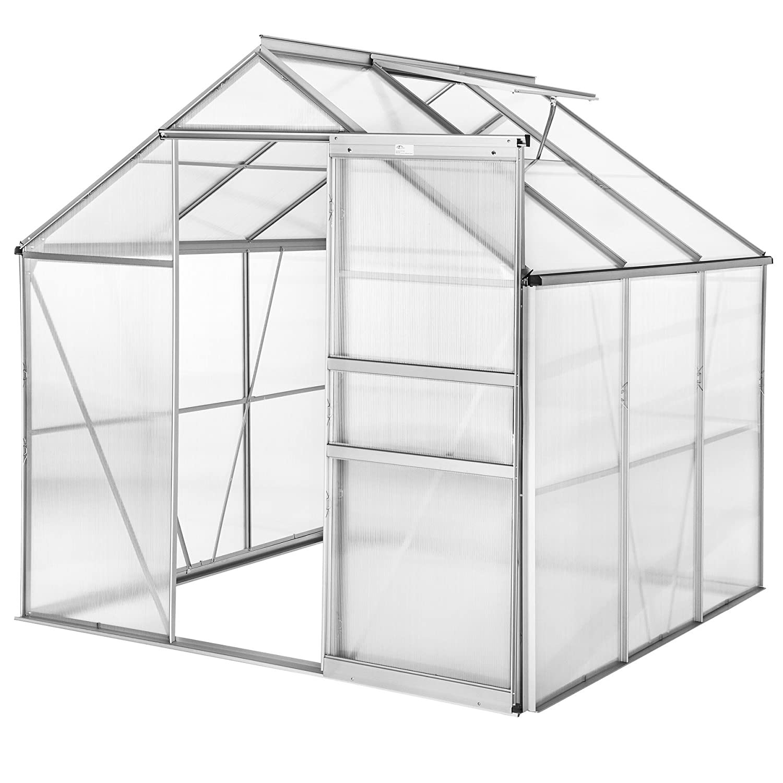 190x185x195 cm   no. 402473 TecTake 800416 Greenhouse Polycarbonate Aluminium, Growhouse with Window & Sliding Door 190x185x195 cm different models (190x185x195 cm   no. 402473)