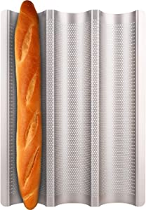 Baguette Pan, Fulimax Nonstick baguette pans for baking 15 x 11 inch 3 Slots Perforated Italian Loaf Mold Long French Bread Baker's Tray