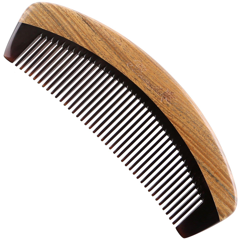 Breezelike Peigne à cheveux à dents fines en corne de buffle noire et bois de santal China Craft Store HC14008
