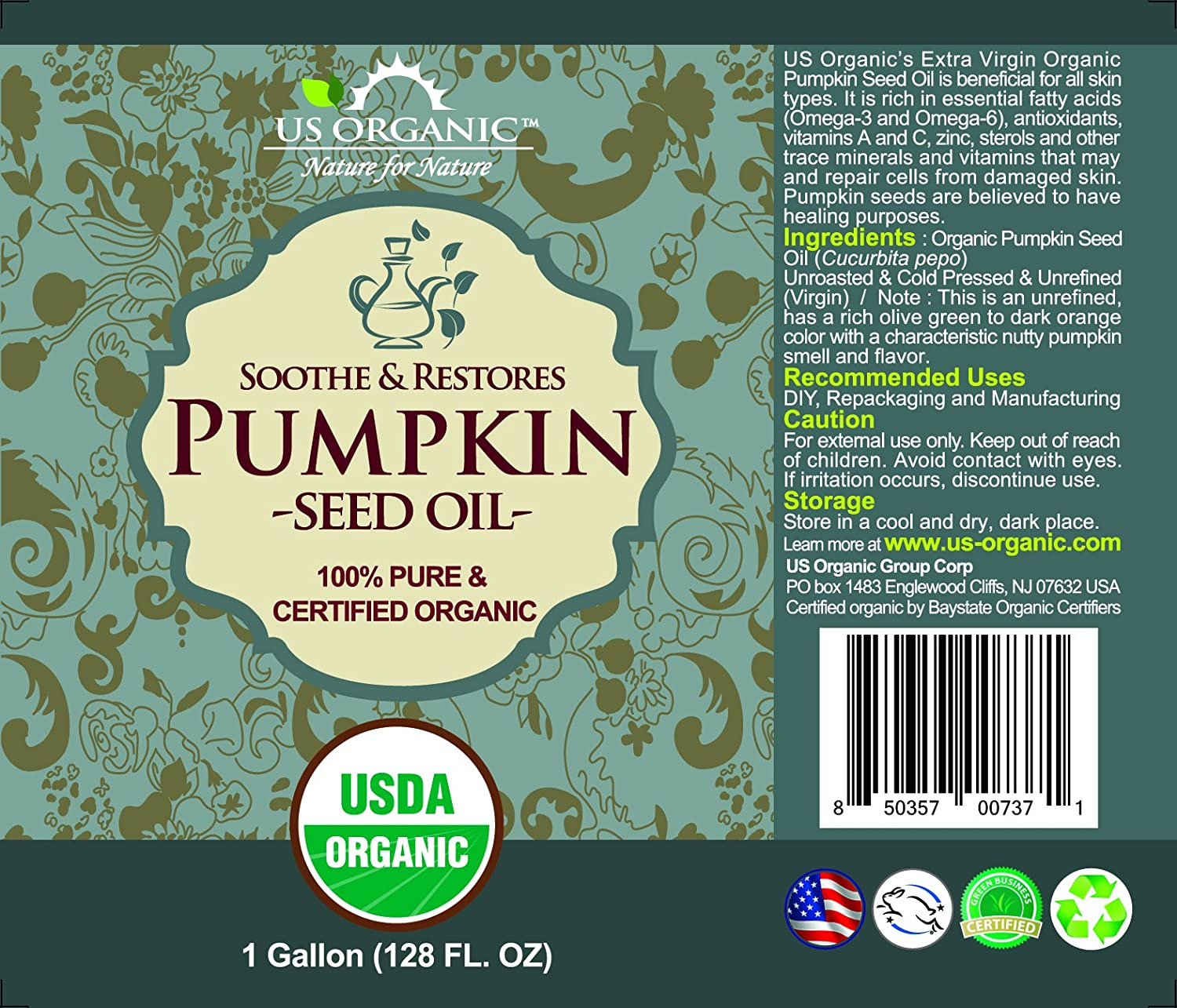 US Organic Pumpkin Seed Oil Bulk pack, USDA Certified Organic,100 Pure Natural, Cold Pressed Virgin, Unrefined 128 oz 1 Gallon