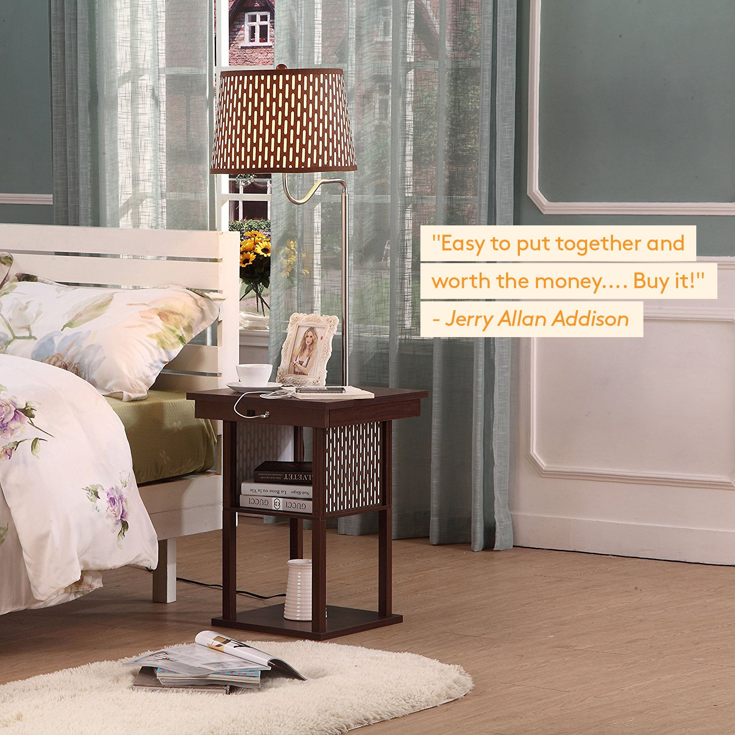 Brightech Madison - Mid Century Modern Nightstand, Shelves & USB Port Combination - Bedside Table with LED Floor Lamp Attached - End Table for Living Room Sofas - Brown by Brightech (Image #9)