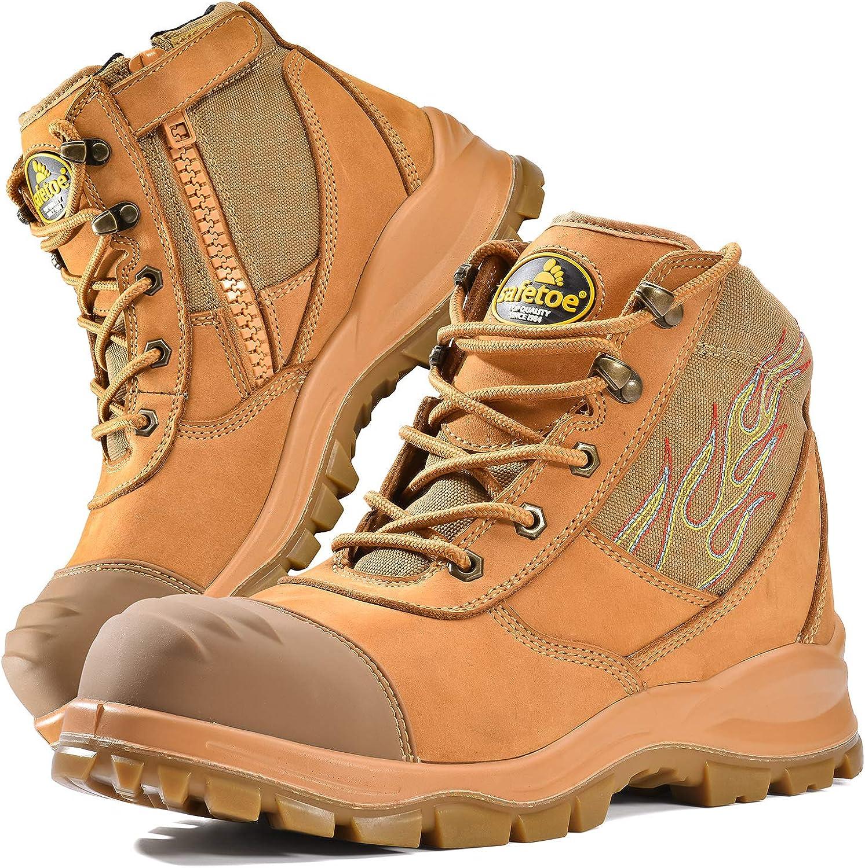 Safetoe Zapatos de Seguridad para Hombres y Mujeres, M-8501 Botas de Seguridad Modelo Cuero Impermeable, Puntera de Material Punta de Acerol Ligeros Calzado, Zapatillas para Plantilla mas Comodas