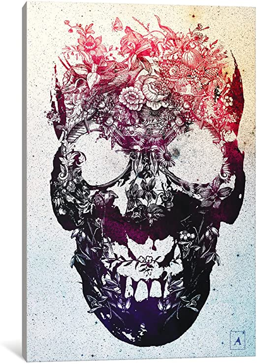 0.75 by 40 by 60-Inch iCanvasART 3-Piece Garden Skull Canvas Print by Ali Gulec