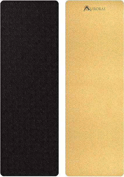 Aurorae Pro Corcho Natural/de Goma Yoga Mat, no tóxico, Libre de PVC, TPE, Productos químicos/plásticos. Biodegradable y Reciclable, antiestática, Transpirable, 73