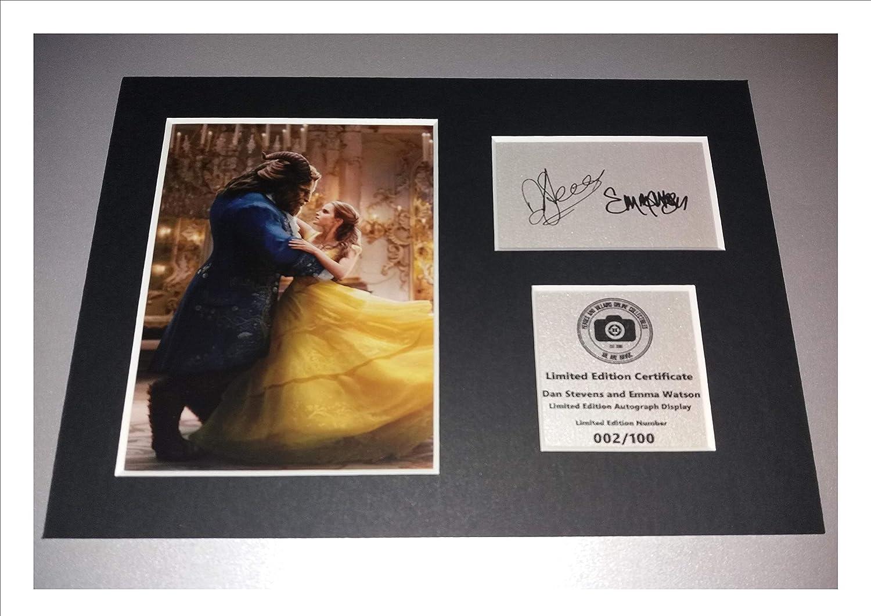 Support avec les autographes de Dan Stevens et d'Emma Watson - La belle et la bête - Prêt à être encadrée Havoc