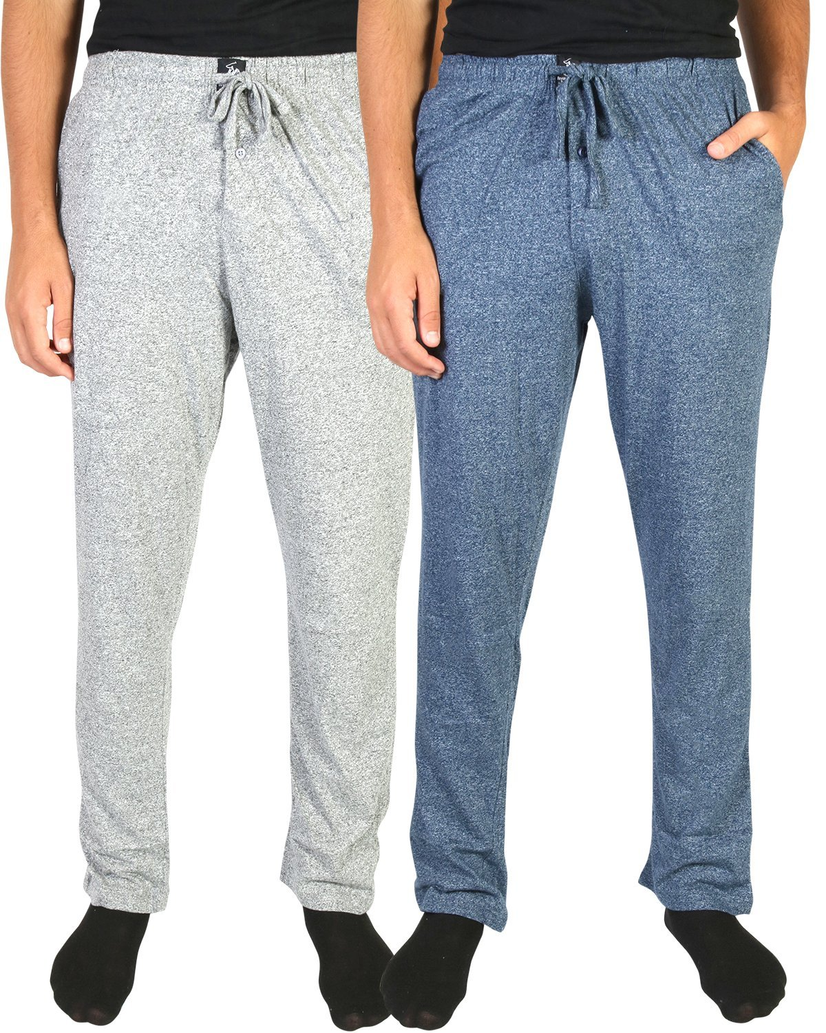 Beverly Hills Polo Club Men's Soft Touch Pajama Lounge Sleep Pants (2 Pack), Navy/Grey, Large (36-38)'