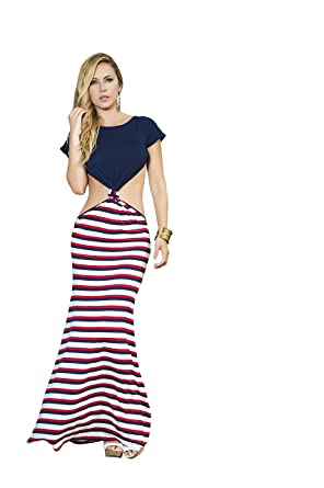 db63db0c5f7 Mapale T-Shirt Maxi Dress with Striped Skirt at Amazon Women s ...