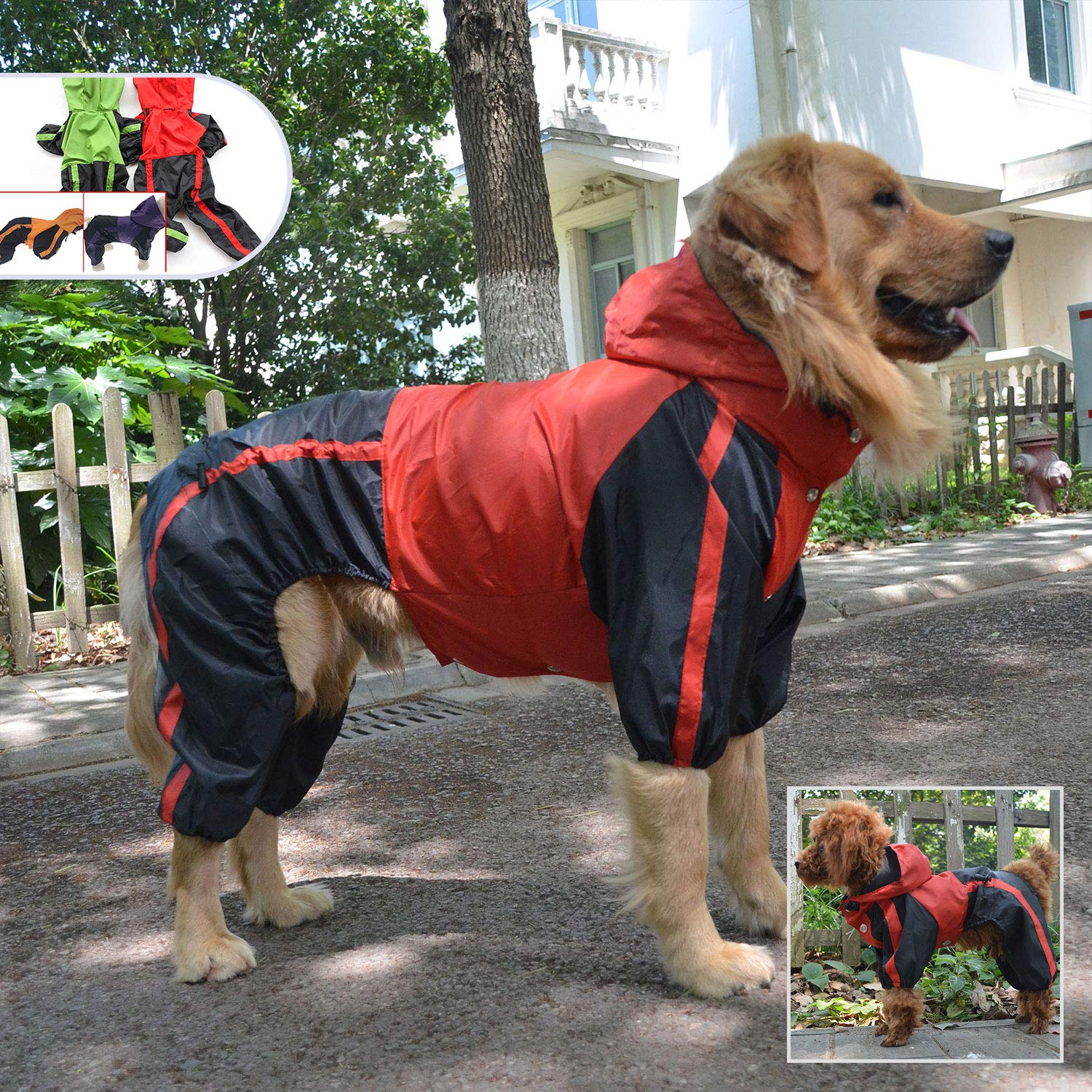 Pet Apparel Large Dog Clothing Raincoat Pet Clothes Rain Coat For Big Large Dogs Red Green Waterproof (L-XL, Red) by Lovelonglong