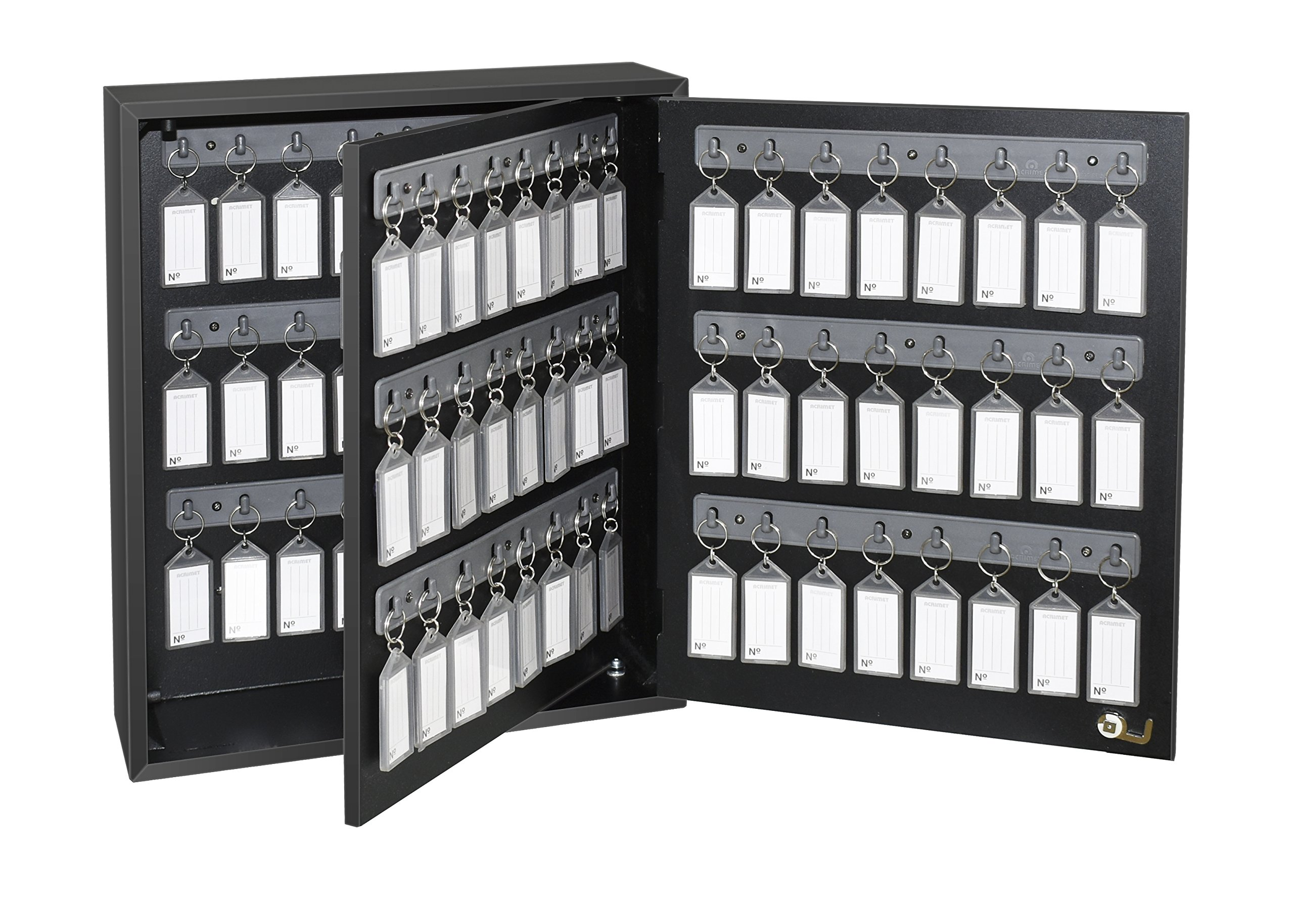 Acrimet Key Cabinet, 96 Positions, with 96 Key Tags (Black w/Smoke)