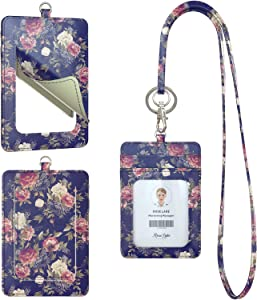 Rose Lake Lanyard with ID Card Holder and Mirror, Peonies and Delphinium Detachable Keychain Name Badge Holder for Teacher Office Woman