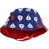 Little Me Reversible Navy Sailboat Solid Red Infant Boys Bucket Sun Hat 12-24