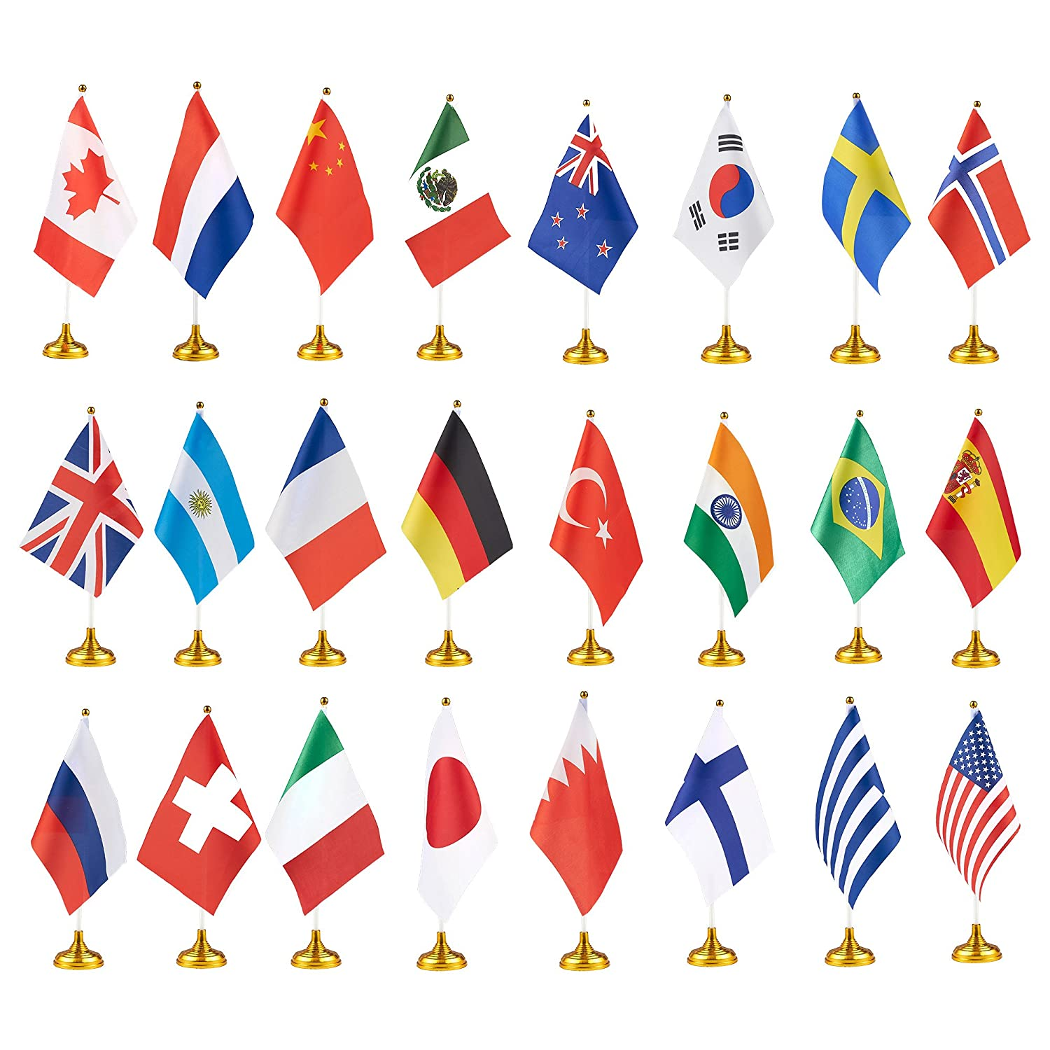 Juvale 24-Piece Country Flags - International Flags Stand, World Flags Desk, Table Decorations, Flag: 8.3 x 5.5 Inches