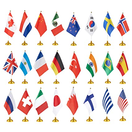 amazon com 24 piece country flags international flags with stand