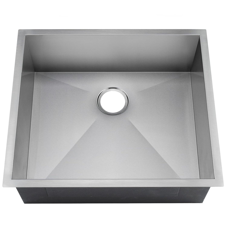 Golden vantage 25 x 22 x 9 undermount handmade stainless steel single bowl basin kitchen sink w round drain amazon com