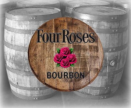 Rustic Home Bar Decor Four Roses Bourbon Whiskey Barrel Lid Wood Wall Art