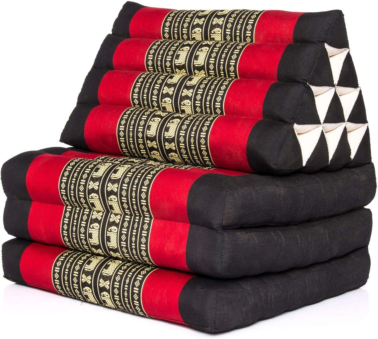 Kitama con 3 cojines como esterilla tailandesa Coj/ín tailand/és triangular relleno con kapok esterilla de yoga esterilla tailandesa