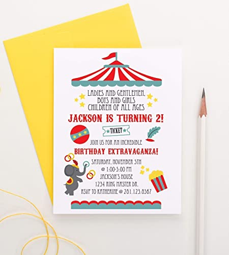 Circus Birthday Party Invitation Carnival Invite Your Choice Of Quantity And Envelope Color