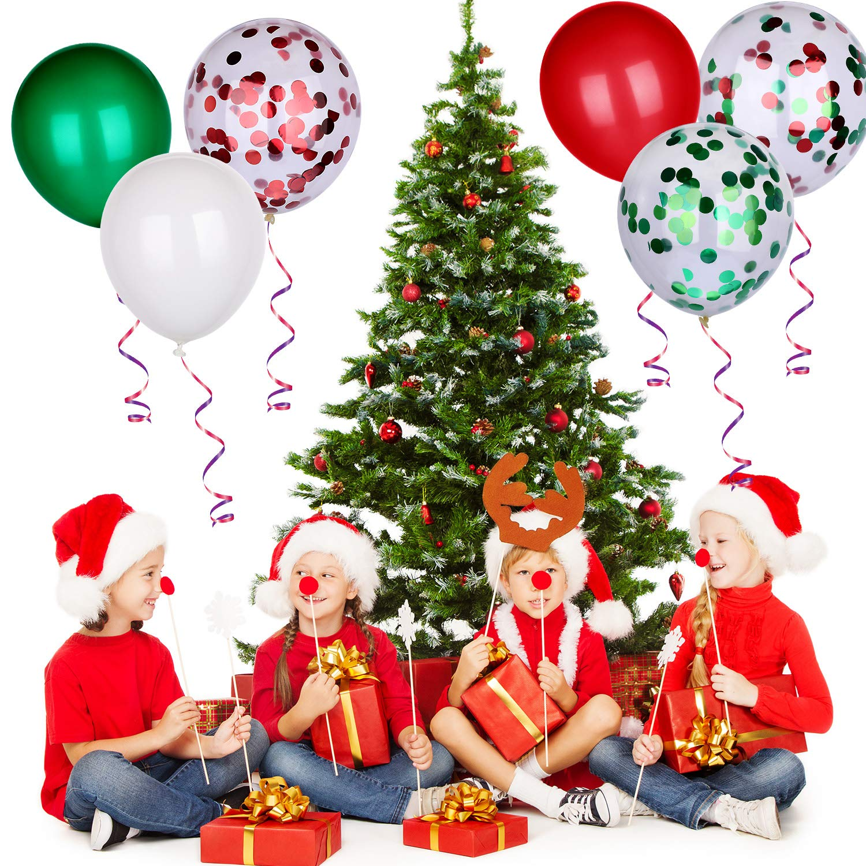 SATINIOR 60 Pieces Christmas Balloons Colorful Latex Balloons Confetti Balloons for Christmas Decoration