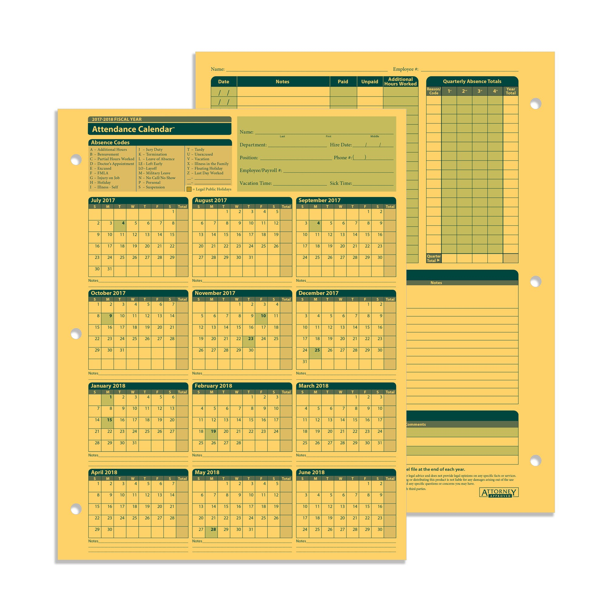 ComplyRight Fiscal Year Attendance Calendar, 2017-2018, 50 Pack