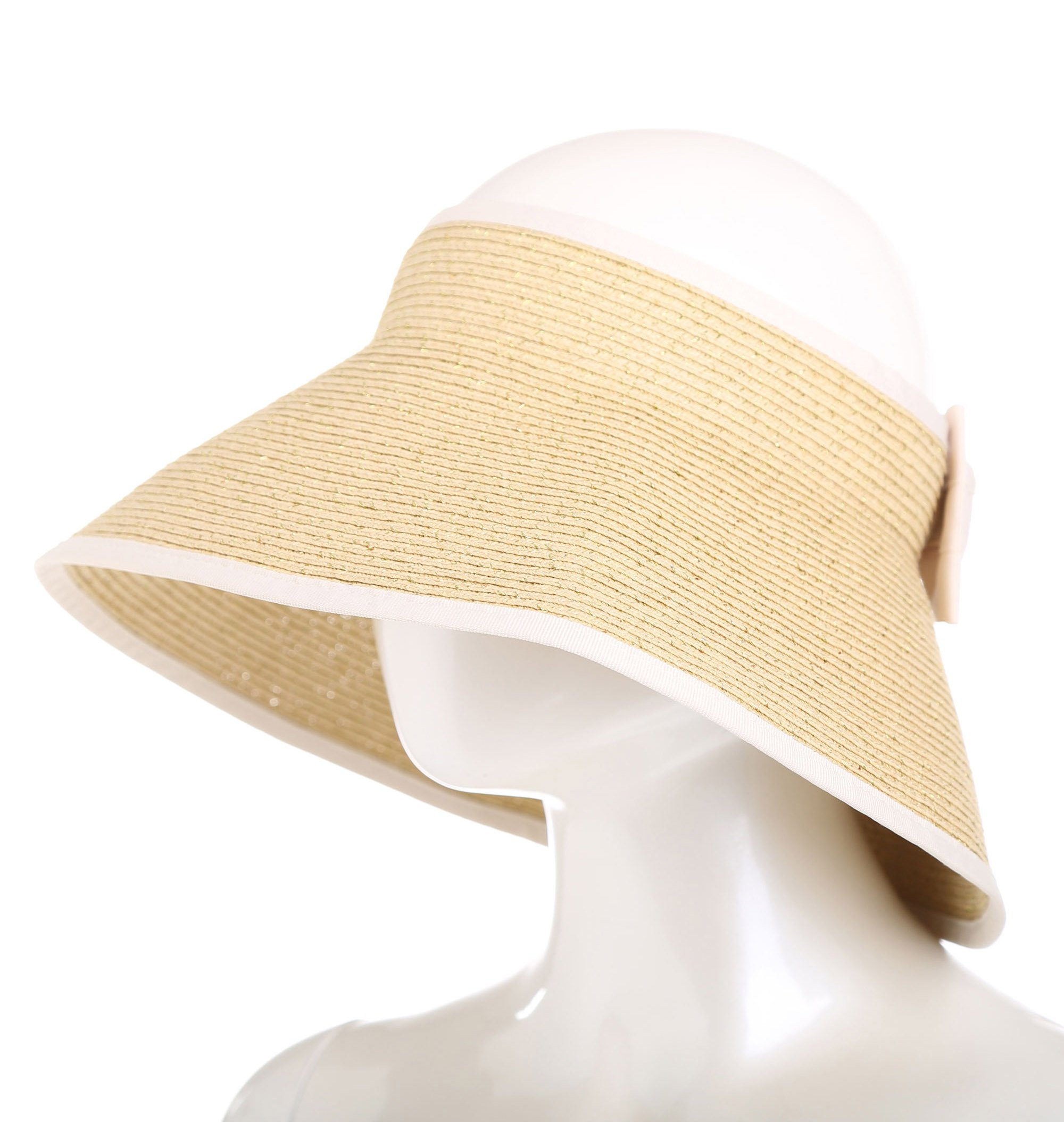 SunviewGolf svg Women's Summer Sun Golf Visor Beach Straw Hats Wide Brim Foldable Khaki