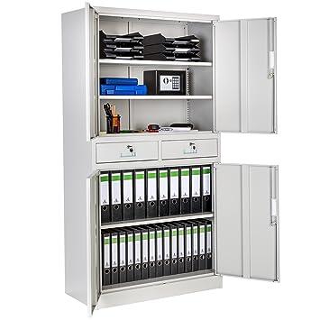 TecTake Armario archivador de Oficina metálico con 4 Puertas e 2 cajones bloqueable 180x90x40cm: Amazon.es: Hogar